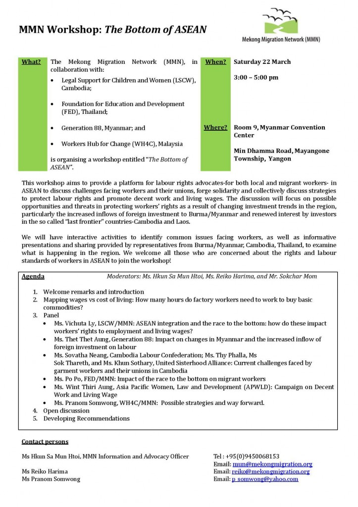 Mekong Migration Network - Bottom on ASEAN Workshop 22 March - Flyer-image